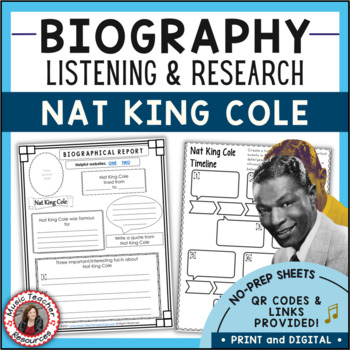 Nat King Cole Biography Research and Listening Activities | Distance Learning