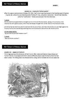 Nat Turner - Primary Source Documents and DBQs
