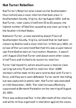 Nat Turner Rebellion Handout