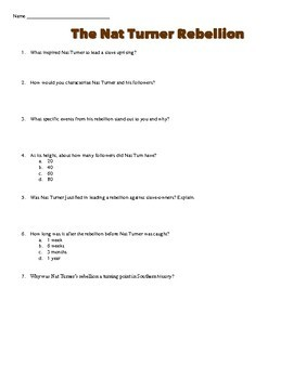 Nat Turner's Slave Rebellion Primary Source Worksheet