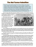Nat Turner's Rebellion Primary Source Worksheet