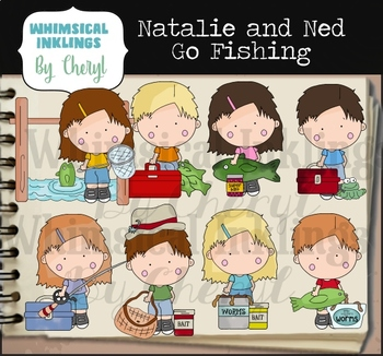 Natalie And Ned Go Fishing Clipart Collection