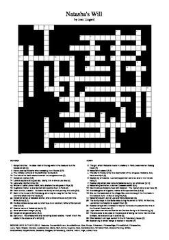 Natasha's Will - Crossword Puzzle