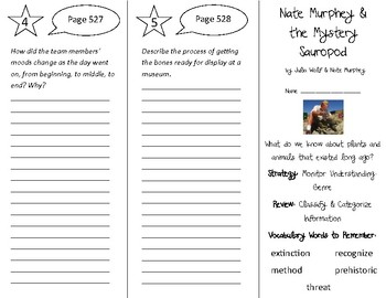 Nate Murphey & the Mystery Sauropod Trifold - 4th Gr Literacy by Design Theme 15