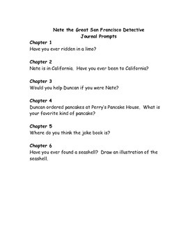 Nate the Great San Francisco Detective comprehension questions