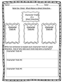 Nate the Great Test and Writing Activity