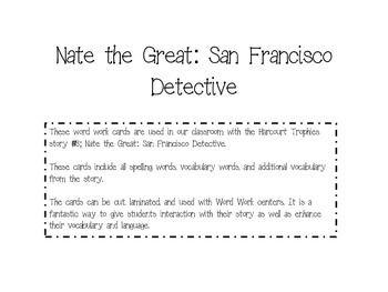 Nate the Great (Harcourt) Fluency Cards
