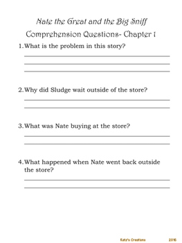 Nate the Great and the Big Sniff Comprehension Questions & Elements of Mystery