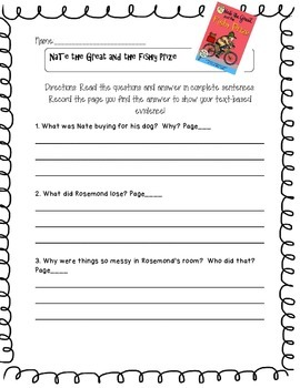 Nate the Great and the Fishy Prize  Questions w/ Text- Based Evidence