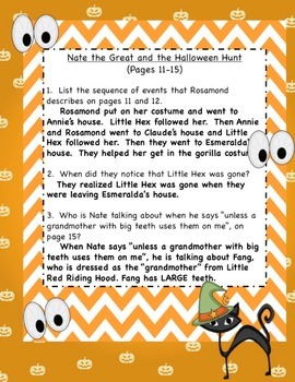 Nate the Great and the Haunted House Reading Response Packet