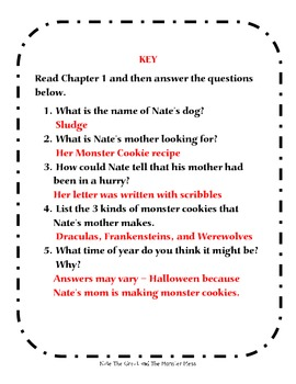 Nate the Great and the Monster Mess - Comprehension Questions