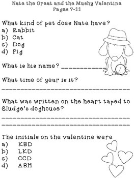 Nate the Great and the Mushy Valentine Response Notebook (18 pages)