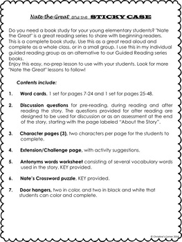 Nate the Great and the Sticky Case, No Prep Reading Lesson worksheets