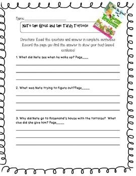 Nate the Great and the Tardy Tortoise  Questions w/ Text- Based Evidence