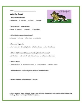 Nate the Great book report with questions and a project