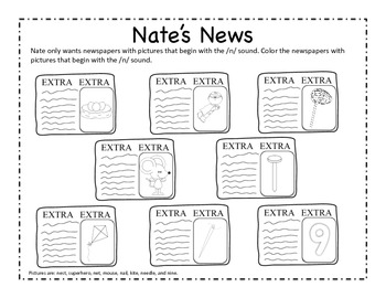 Nate's News - Letter N Beginning Sound Sort