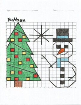 Nathan Snowman and Christmas Tree Mystery Picture Coordinate Graph