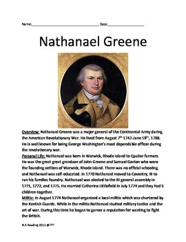 Nathanael Greene - Life history facts lesson questions Revolutionary War hero