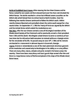 Nathanael Greene - Life history facts lesson questions Revolutionary War hero