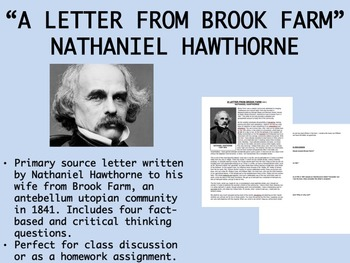 """A Letter from Brook Farm"" - Nathaniel Hawthorne - Utopian Communities - APUSH"