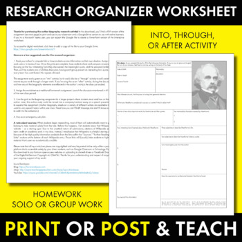 Nathaniel Hawthorne Author Study Worksheet, Easy Biography Activity, CCSS