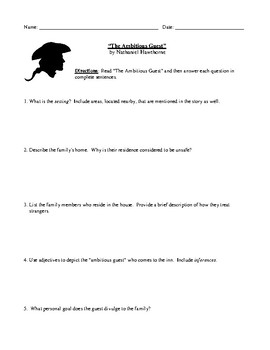 """Nathaniel Hawthorne: """"The Ambitious Guest"""" Review (or Test) with Answer Key"""