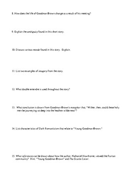 """Nathaniel Hawthorne: """"Young Goodman Brown"""" Review (or Test) and Answer Key"""