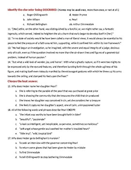 Nathaniel Hawthorne's The Scarlet Letter 50-question TEST with KEY