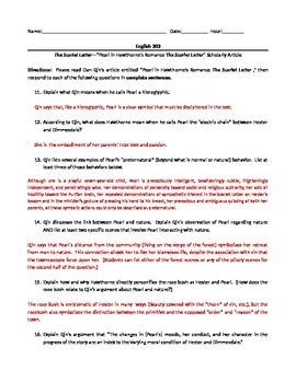 Nathaniel Hawthorne's The Scarlet Letter--Scholarly Article Worktsheet