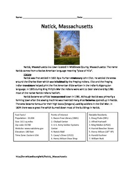 Natick, Massachusetts - History Facts Information Questions Vocabulary