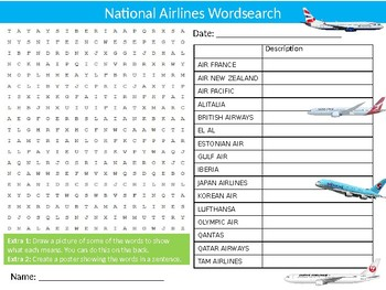 National Airlines Wordsearch Puzzle Sheet Keywords Activity Air Travel Transport