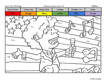 National Anthem Day Coloring Page by Fact Fluency Skill