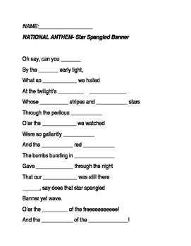 National Anthem Lyric Quiz