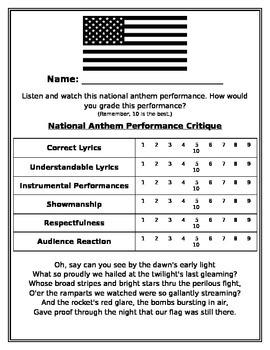 National Anthem Performance Critique