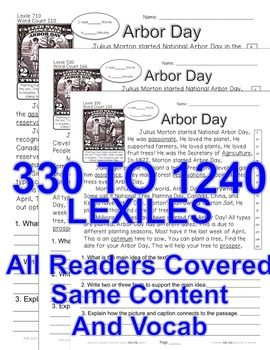 National Arbor Day FACTS CLOSE READING 5 LEVELED PASSAGES Main Idea Fluency TDQs