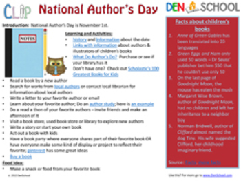 National Author's Day CLIP (Creative Learning in a Pinch) Nov. 1st