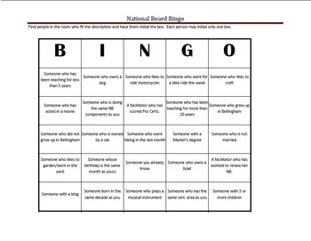 National Board Bingo