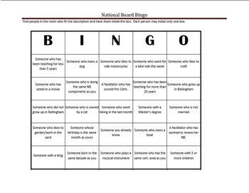 National Board Bingo