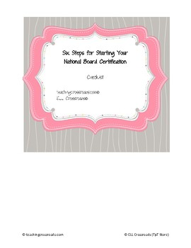 National Board Certification Getting Started Checklist