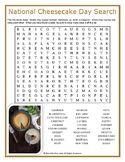 National Cheesecake Day Word Search Puzzle