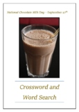 National Chocolate Milk Day - September 27th Crossword Puzzle Word Search Bell
