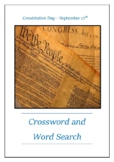 National Constitution Day September 17th - Crossword Puzzle Word Search