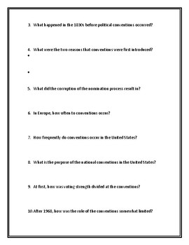 National Conventions (Presidential Elections) Webquest With Answer Key!