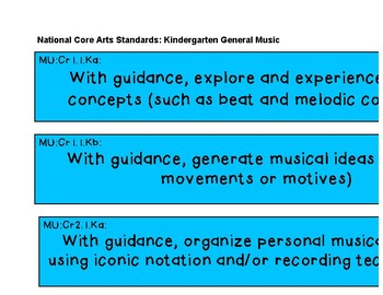 National Core Art Standards Display Music K-2