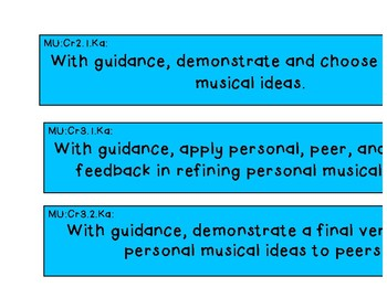 National Core Art Standards Display Music K-2
