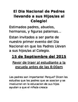 National Day Fathers take your Child to school day Spanish Invitation