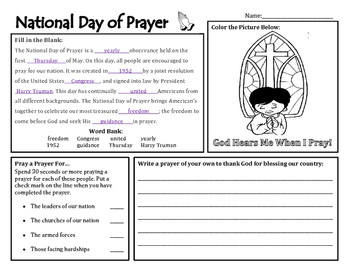 National Day of Prayer Activity Sheet/Morning Work