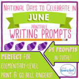 National Days to Celebrate in June Writing Prompts