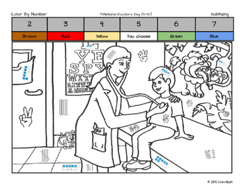 National Doctors Day Math Skills Coloring Page