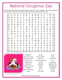 NATIONAL DOUGHNUT DAY Word Search Puzzle Handout Fun Activity